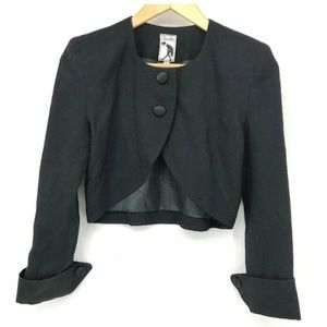 Saelee Womens Jacket Cropped Black Button Front